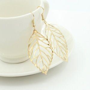 Gold Filigree Open Leaf Dangle Earrings